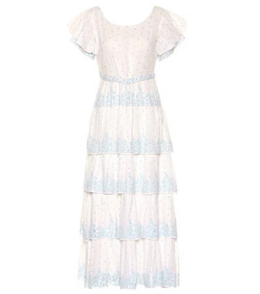 LoveShackFancy Martine cotton voile maxi dress in white