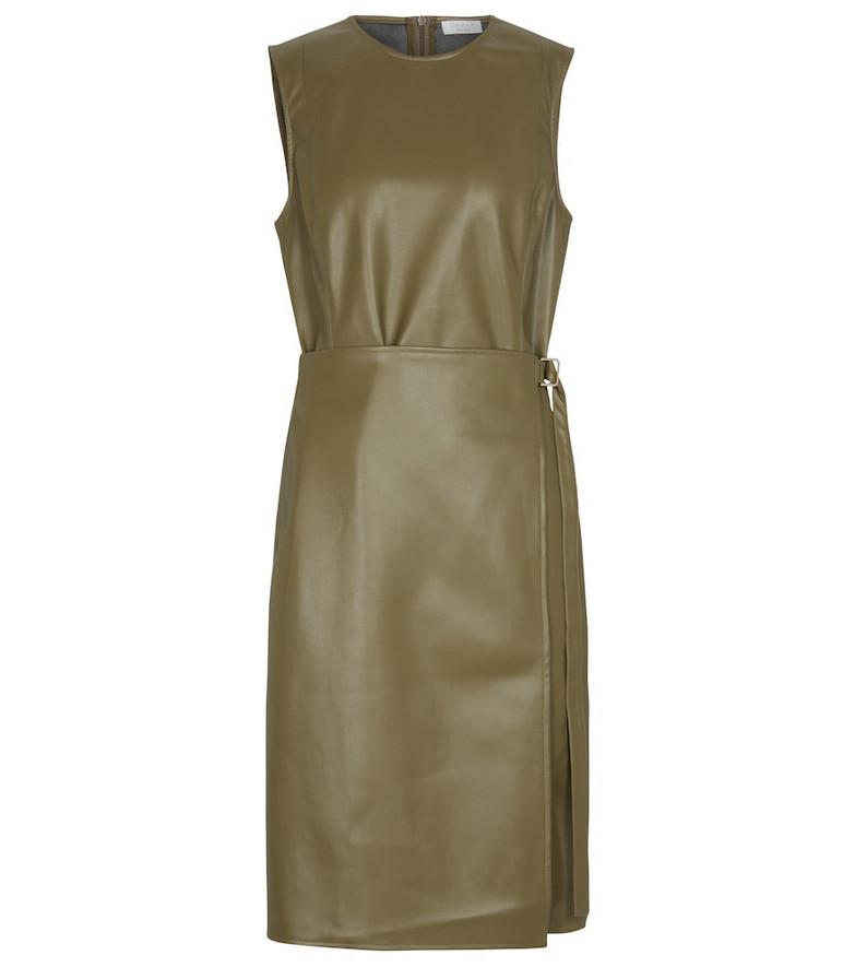 Deveaux New York Faux leather midi dress in green