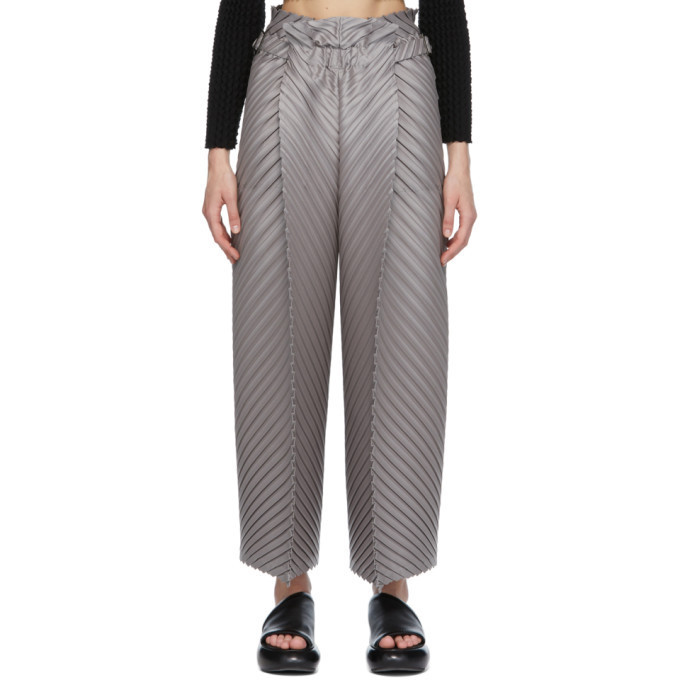 Issey Miyake Grey CRT Pleats Trousers in silver