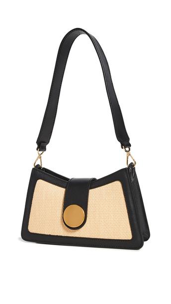 Elleme Raffia Contrast Baguette Bag in black / natural
