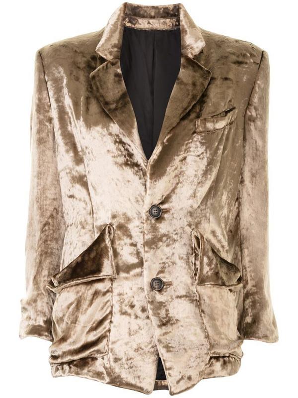 sulvam velvet single-breasted blazer in brown
