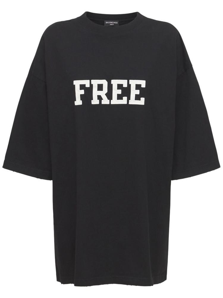 BALENCIAGA Logo Cotton Jersey T-shirt in black / white