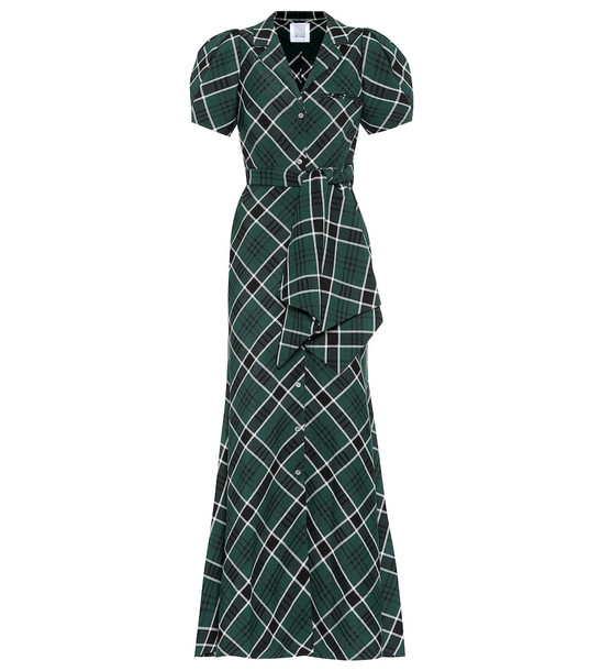 Rosie Assoulin Checked midi dress in green