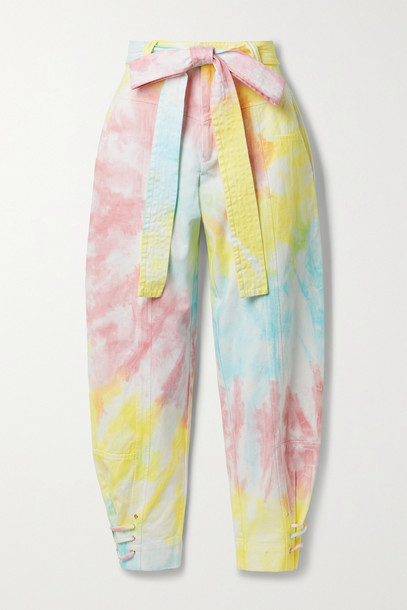 LOVESHACKFANCY - Tao Cropped Belted Tie-dyed Cotton-blend Twill Tapered Pants - Yellow