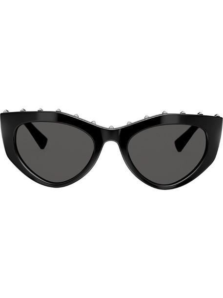 Valentino Eyewear studded slim cat-eye frames sunglasses in black
