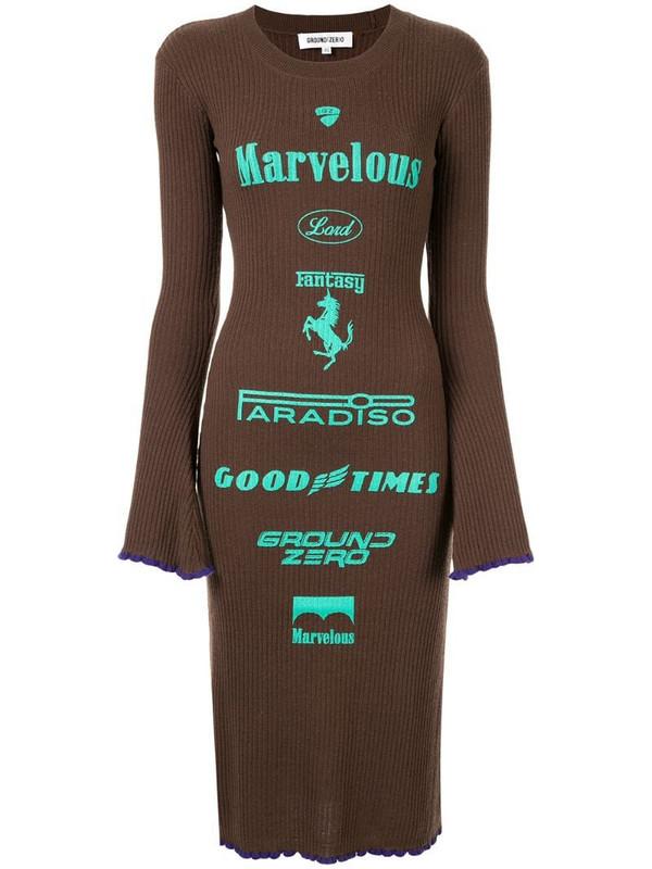 Ground Zero brand print knitted dress in brown