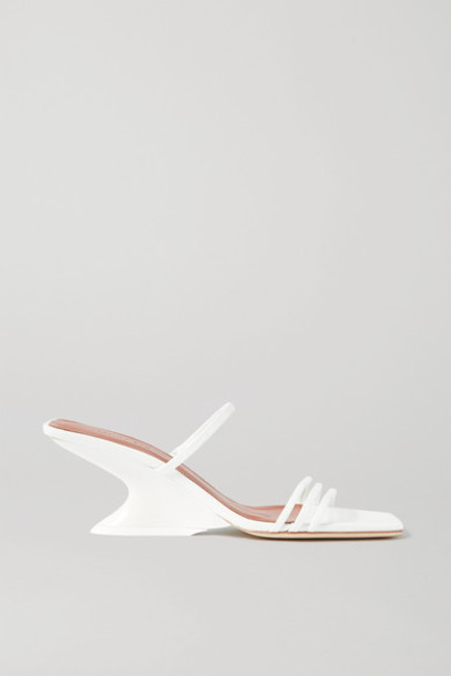 REJINA PYO - Romy Crinkled Patent-leather Mules - White