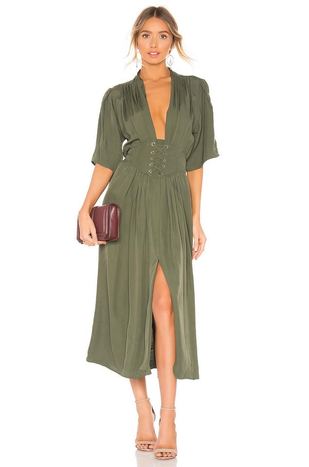 Divine Heritage Laced Up Midi Dress