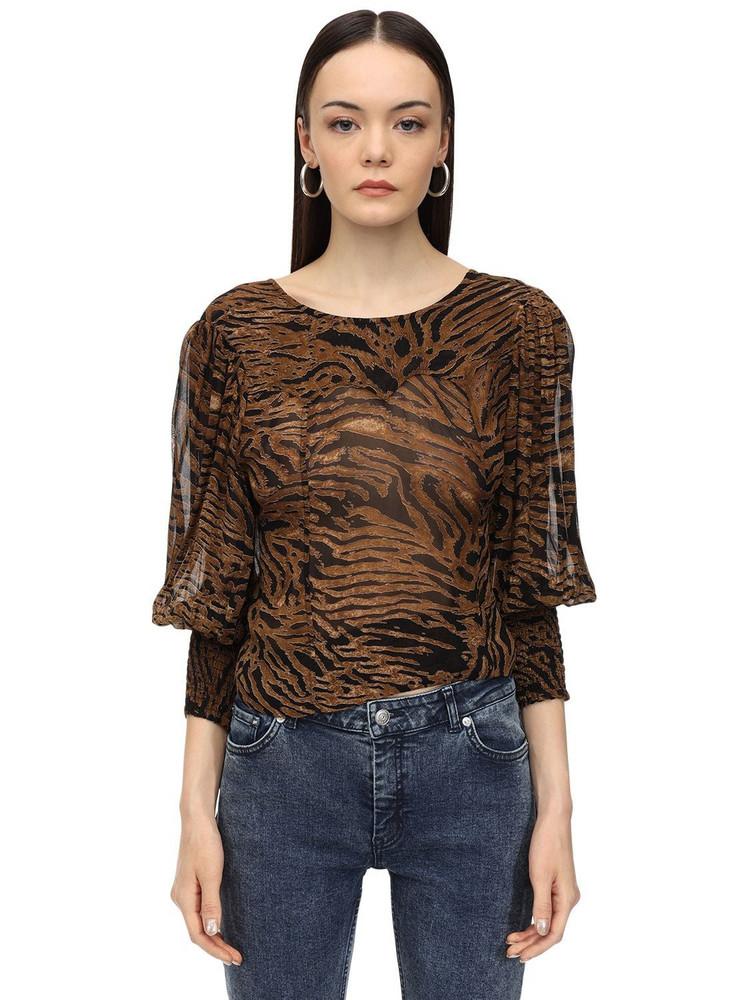 GANNI Interchangeable Printed Georgette Blouse in brown