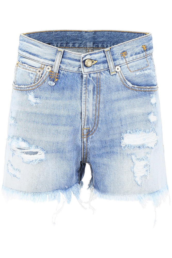 R13 Destroyed Shorts in blue