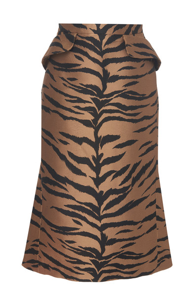 Carolina Herrera Tiger Printed Jacquard Midi Skirt