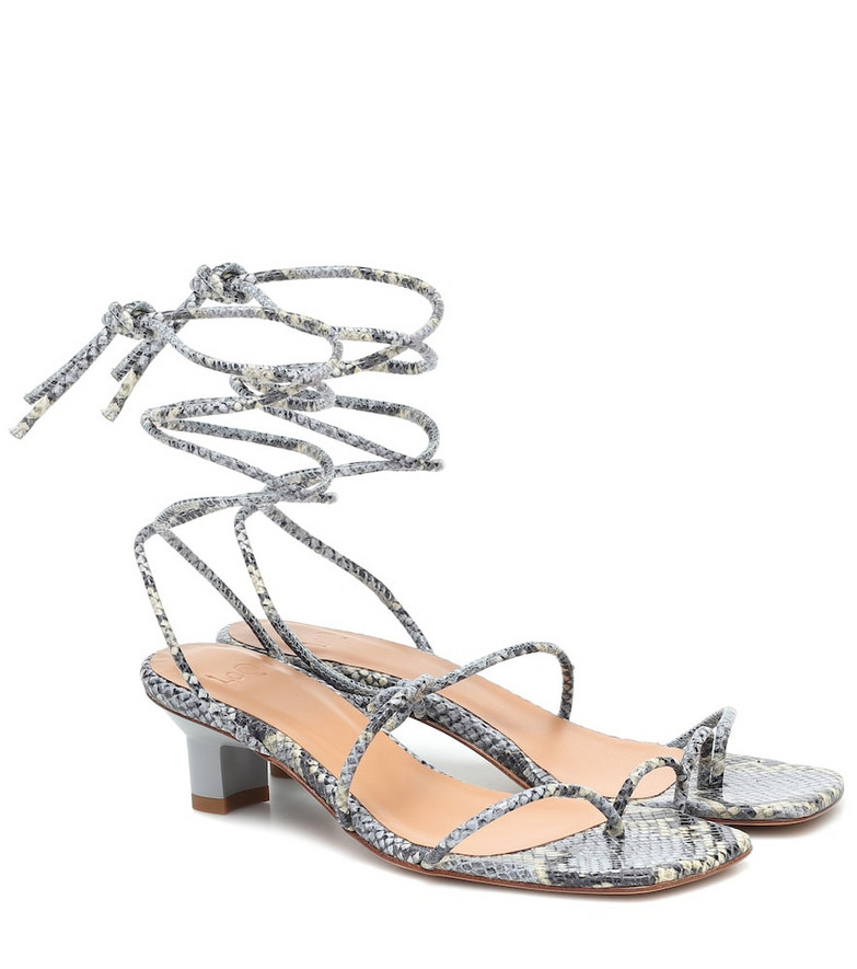 LOQ Roma snake-effect leather sandals in blue
