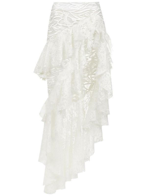 Martha Medeiros Marilia lace mix skirt in white