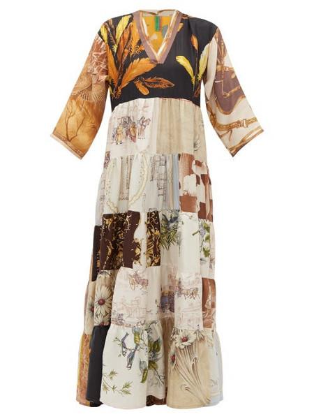 Rianna + Nina Rianna + Nina - Vintage Patchwork Print Silk V Neck Dress - Womens - Multi