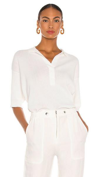 APIECE APART Clara Collar Knit Top in White in cream