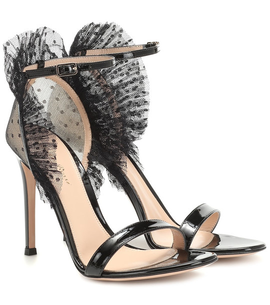 Gianvito Rossi Tulle and patent leather sandals in black