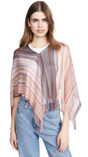 Missoni Triangle Poncho with Fringes in pink
