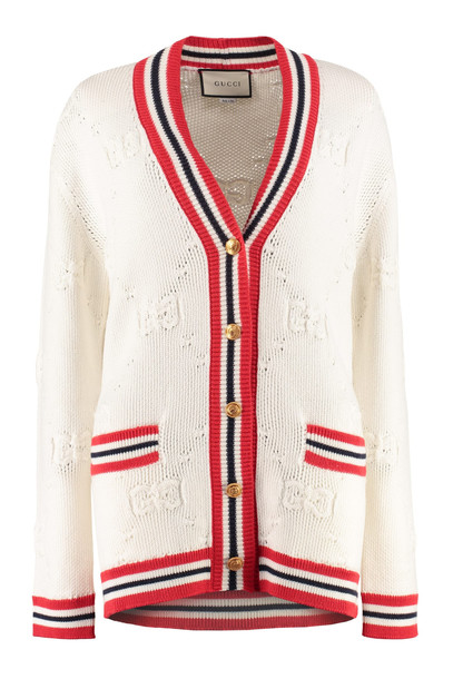 Gucci Cardigan With Embellished Buttons in white