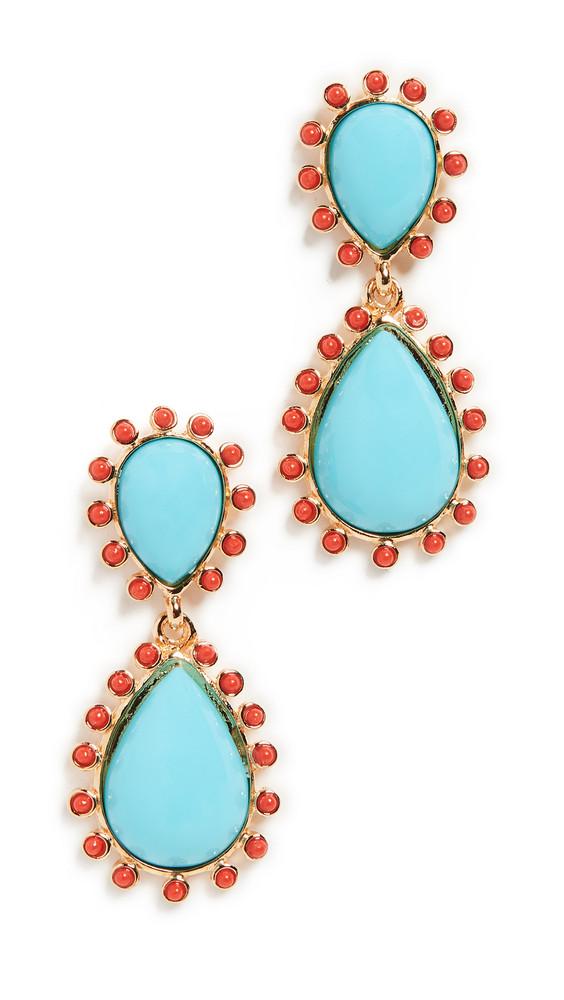 Kenneth Jay Lane Teardrop Earrings in turquoise / coral