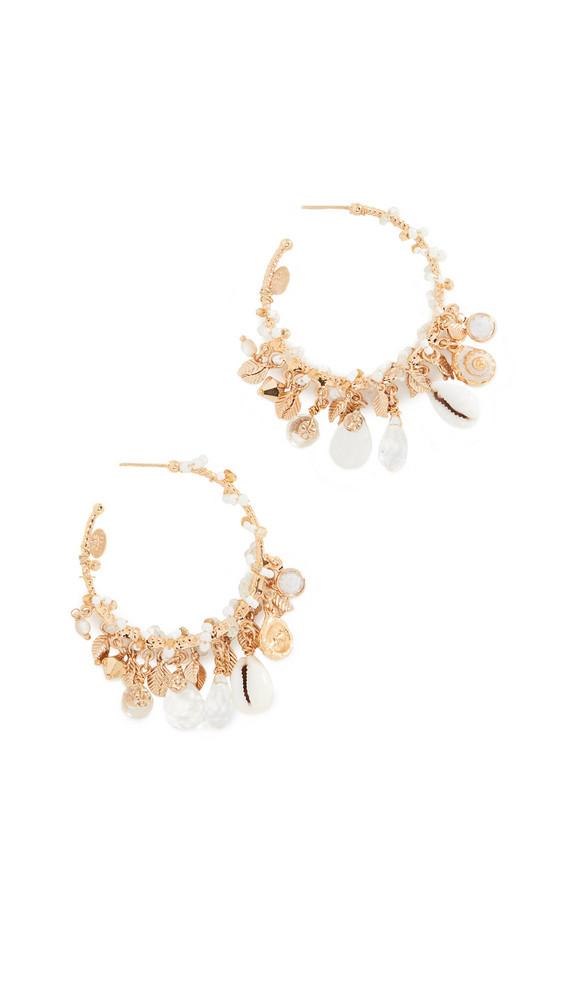 GAS Bijoux Beaded Shell Hoop Earrings in gold / clear