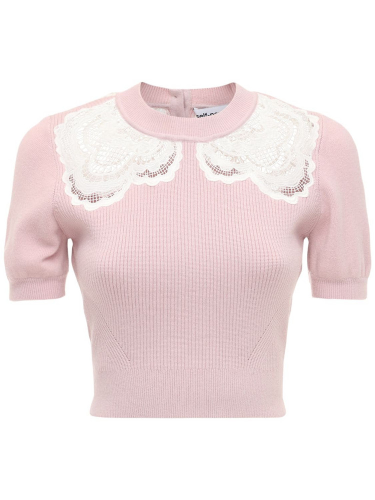 SELF-PORTRAIT Gruipure Applique Cropped Knit Top in pink