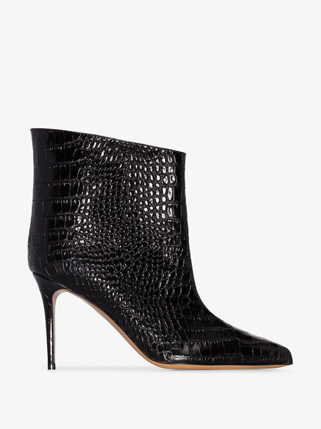 Alexandre Vauthier croc-effect 90mm ankle boots in black