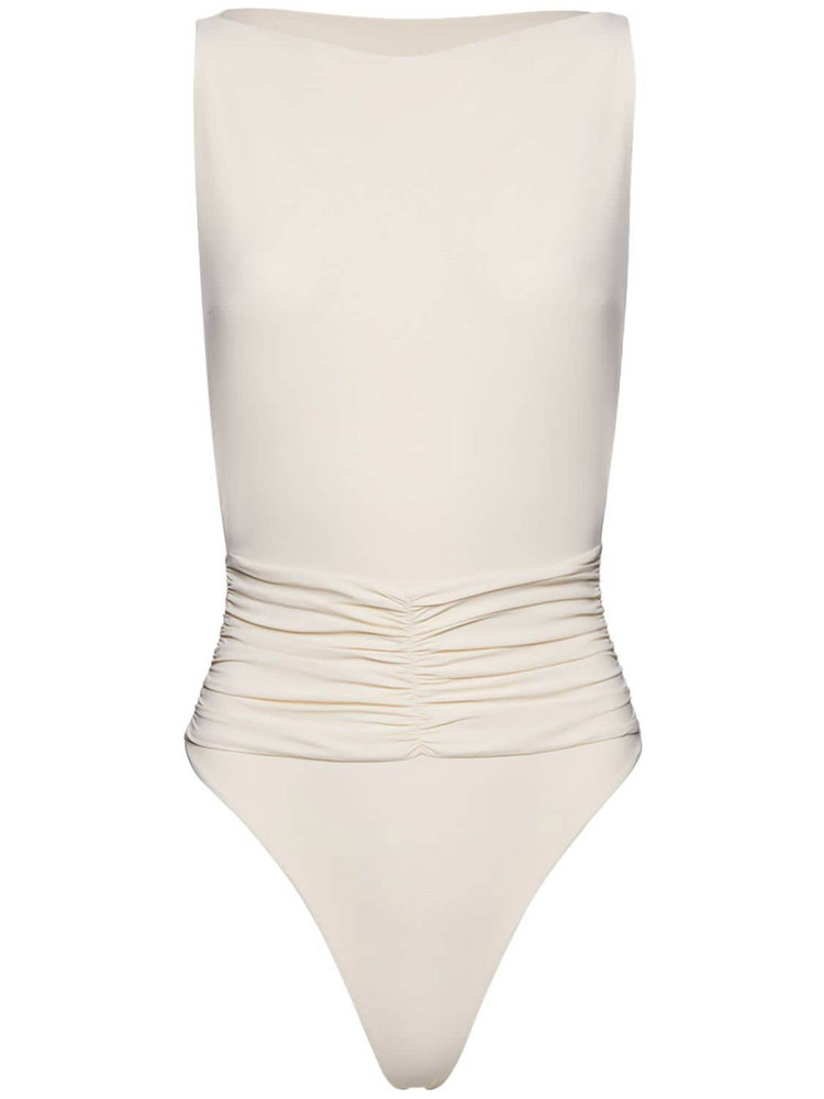 MAGDA BUTRYM Boatneck One Piece Swimsuit in ivory