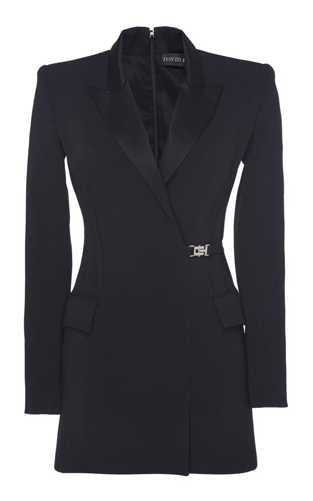David Koma Satin-Trimmed Buckled Blazer Size: 6 in black