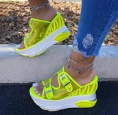 shoes,neon yellow,heel,sandals,straps,sneakers