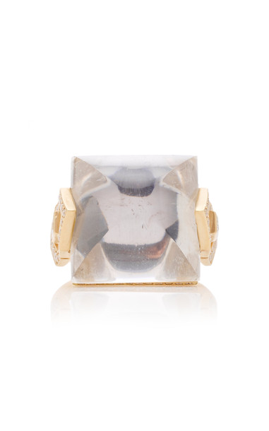 Doryn Wallach Harlow Crystal Diamond Cocktail Ring Size: 7 in gold