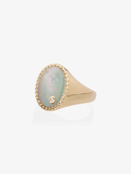 Yvonne Léon 18K yellow gold pearl diamond signet ring
