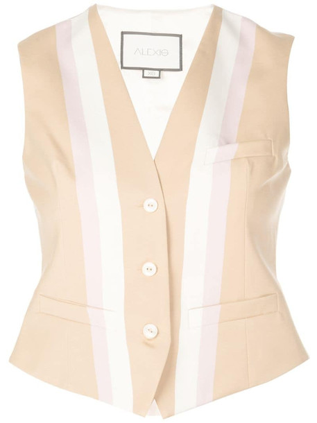 Alexis fitted striped vest in brown