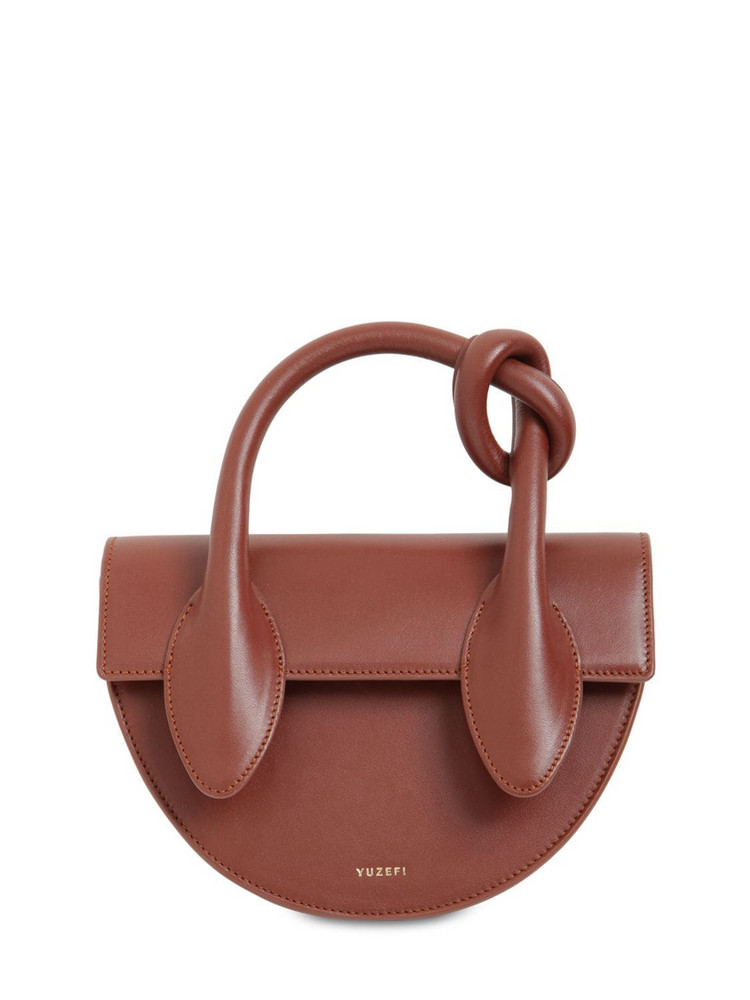 YUZEFI Dolores Leather Top Handle Bag in brown