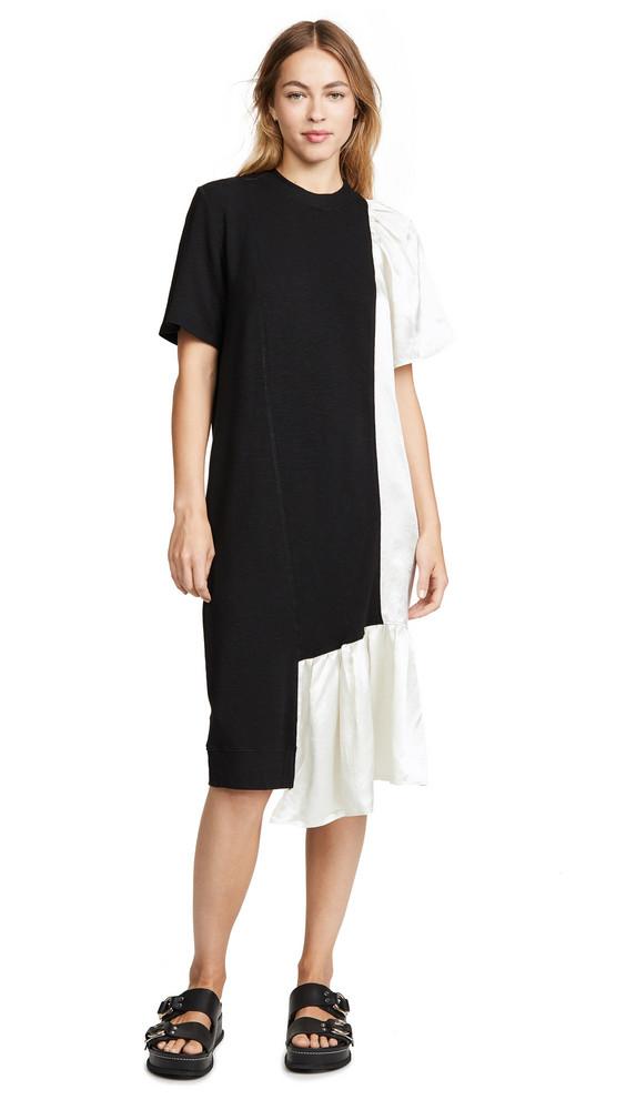 Clu Mix Media Dress With Ruffles in black / ivory