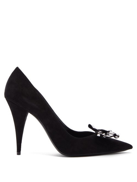Saint Laurent - Kiki Tile Studded Bow Suede Pumps - Womens - Black