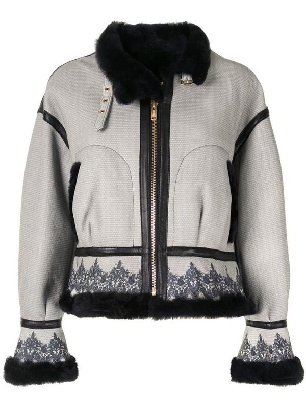 Undercover baroque-print aviator jacket in grey