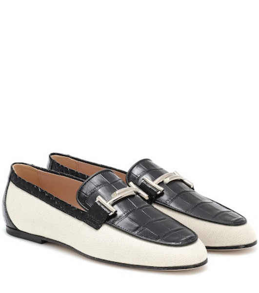 Tod's Double T canvas and leather loafers in black