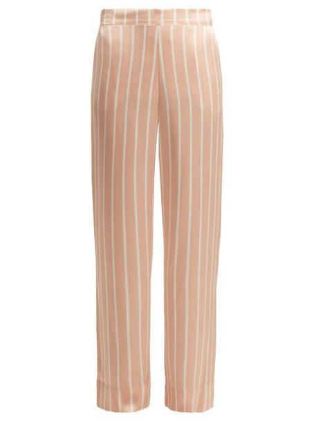 Asceno - Striped Sandwashed Silk Pyjama Trousers - Womens - Pink Stripe