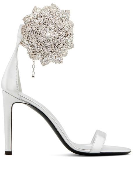 Giuseppe Zanotti beaded 3D floral detail sandals in silver