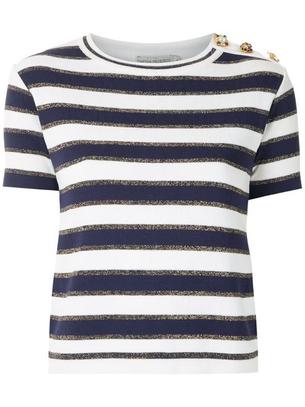 Martha Medeiros crystal embellished knit T-shirt in blue