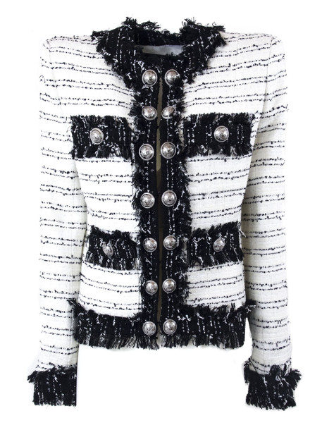 Balmain Black And White Tweed Suit Jacket