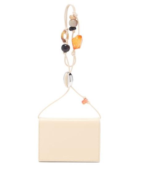 Jil Sander - Beaded-strap Leather Wallet Bag - Womens - Light Yellow