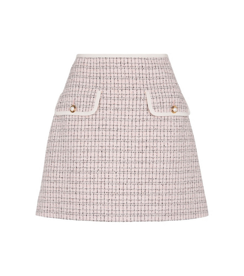 Miu Miu High-rise tweed miniskirt in pink