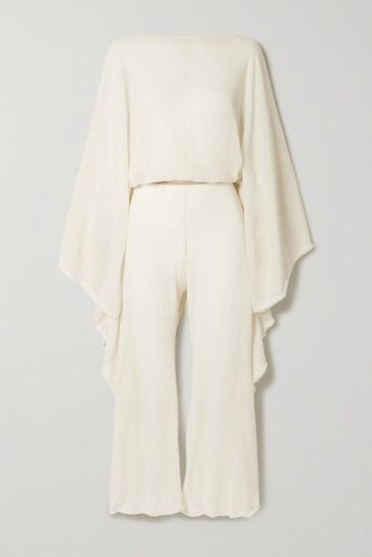 Caravana - Net Sustain Open-back Leather-trimmed Cotton-gauze Jumpsuit - Beige
