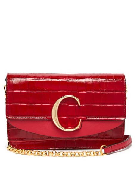 Chloé Chloé - The C Mini Leather Clutch Bag - Womens - Red
