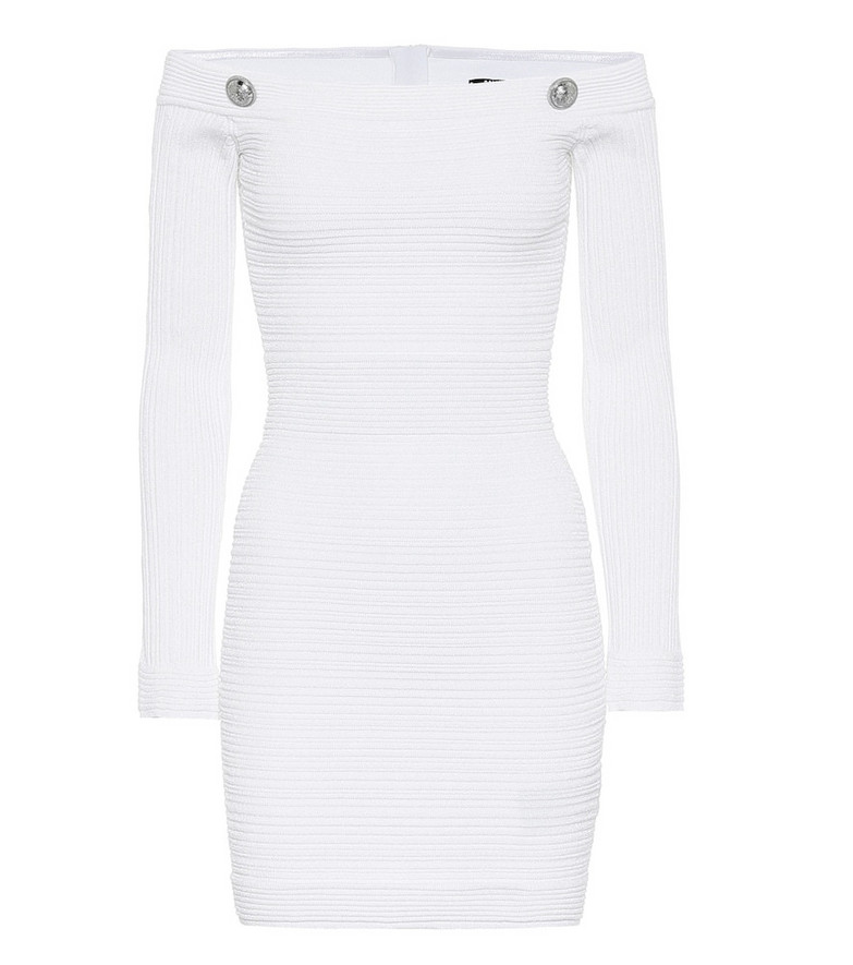 Balmain Off-shoulder minidress in white
