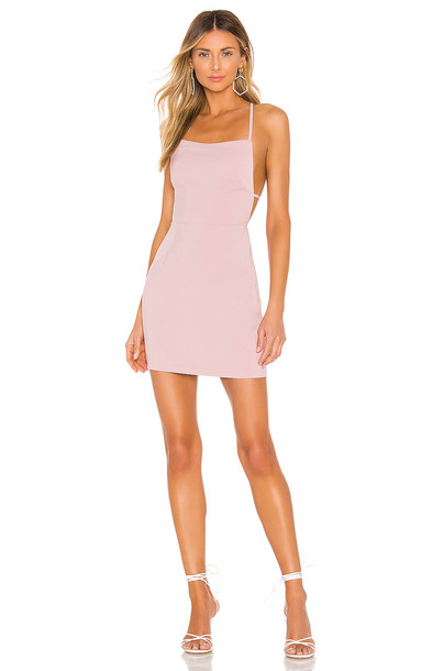 superdown Sabrina Lace Up Back Mini Dress in pink