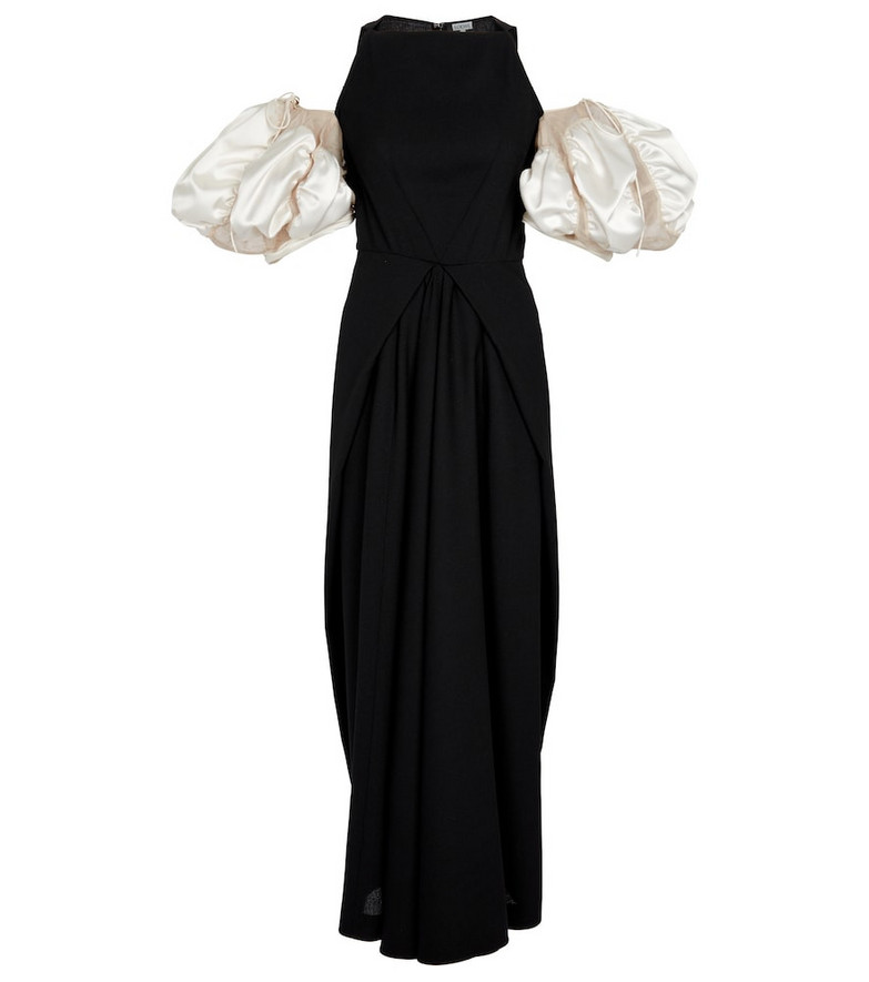 LOEWE Wool crêpe maxi dress in black
