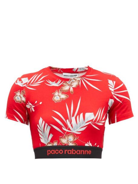 Paco Rabanne - Hawaiian-print Jersey Cropped Top - Womens - Red Print