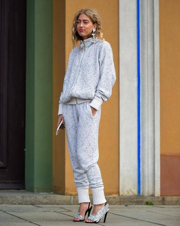 pants joggers knitwear activewear black sandals earrings